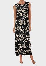 ❤Gorgeous LADIES maxi dress black white floral womans 6 8 10 12 14 16 18 20 belt