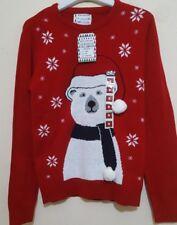 Natale a Maglia Da Uomo pollar Bear 3D Pom Pom Natale Top Primark ROSSO NUOVO CON ETICHETTA