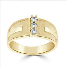Three Stone Engagement Ring 0.20Ct Genuine Diamond Yellow Gold Prong Set SZ 4-12
