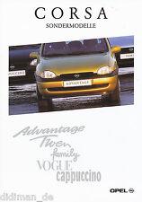 Opel Corsa Sondermodelle Prospekt 4/97 sales brochure 1997 Auto PKWs Deutschland