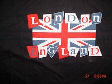 Mens Womens London England Flag Black T Shirt-L