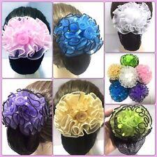 Beautiful 3 Rose Sweet Pink Purple Multi Color Bow Hair Clip Snood Net Bun Cover