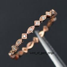 Matching Wedding Band!Diamond Full Eternity Ring,14K Rose Gold,Art Deco Antique