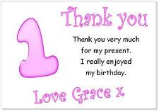 TC 10 Personalizado Sobres y tarjetas de agradecimiento, gracias Cumpleaños edad Fiesta Niñas