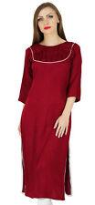 Bimba Women Straight Kurta Kurti Formal Tunic 3/4 Sleeve Blouse Summer Clothing