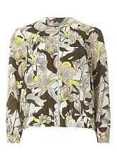 Petite Khaki Floral Bomber Jacket  16  Khaki/Multi