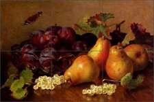 Ceramic Tile Mural Kitchen Backsplash Stannard Pears Plums Fruit Art EHS003