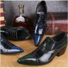 Men Dress Formal Shoe Lace Up Real Leather Pointy Toe Cuban Heels Business Retor