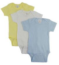 Bambini Boy's Yellow, White, Blue Rib Knit Pastel Short Sleeve Onezie