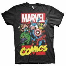 Mens Marvel Comics Superheroes Black T-shirt - Crew Neck Retro Movie Tee