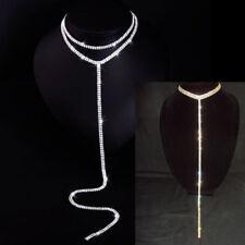 Rhinestone Necklace Choker Lariat 4 Row Long Y Drop Tassel Silver Gold Elegant