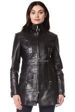 Ladies Zip up Leather Jacket Mid Length Slim Fit Style Casual Coat Black 1310