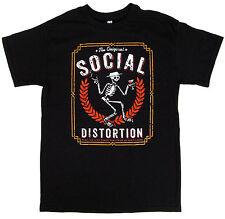 SOCIAL DISTORTION T-shirt Punk Rock Skeleton Logo Adult Mens   Black New