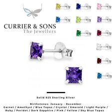925 Sterling Silver Square Cubic Zirconia Birthstone Stud Earrings (4mm)