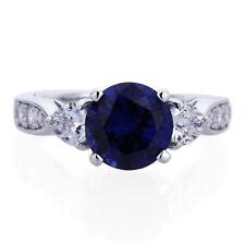 8mm Platinum Plated Silver 2ct Sapphire CZ 3 Stone Wedding Engagement Ring set