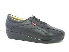 Vegace Women Black Leather Comfort Walking Work Shoe Lace Hotel Restaurant 9012
