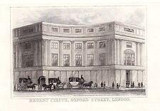 1840 VICTORIAN PRINT ~ REGENT CIRCUS ~ OXFORD STREET LONDON