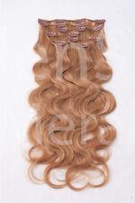 #18 dunkelblond Clip in GEWELLT Hair Extensions 100% Remy Echthaar 7 teilig Set