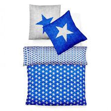 fleuresse Biber Wendebettwäsche Davos blau Sterne mit Reißverschluss