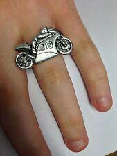 P2 Motorcycle No.2 English Pewter Ladies Ring Adjustable Handmade in Sheffield