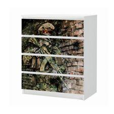 Set Möbelaufkleber für Ikea Kommode MALM 4 Fächer Soldat Waffe Folie 25B1499