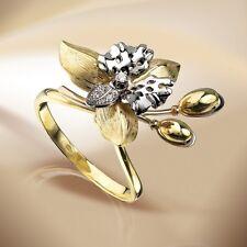 Russische Gelbgold Weissgold, Gold 585 Goldring mit Brillianten. WUNDERSCHÖN.