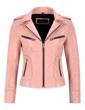 Ladies Fashion Leather Jacket Baby Pink Real Lambskin Tops Black Zip & Lining