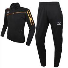 Mizuno Men Slim Fit Knit Training Suit Set Black Orange Soccer Jersey P2MC601209