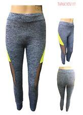 Donna Leggings YOGA FITNESS CORSA PALESTRA Allenamento Pantaloni Attillati Trasparente Neon