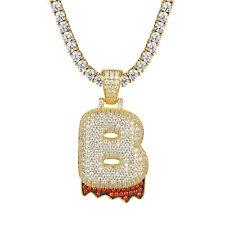 14k Gold Tone Letter B Pendant Custom Bubble Blood Drip 925 Silver Tennis Chain