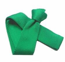 CRAVATTA fine cravattino Maglia viscosa TRICOT verde smeraldo tinta unita verdi