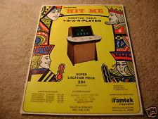 RAMTEK hit me cocktail table video arcade flyer