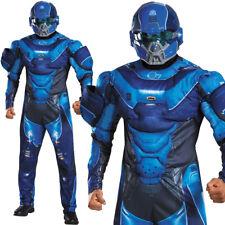 MENS BLUE HALO SPARTAN LOCKE COSTUME DELUXE MUSCLE CHEST COMIC CON FANCY DRESS