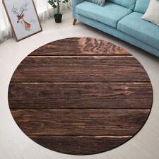 Brown Retro Rustic Wooden Board Round Area Rug Home Carpet Non-slip Crawling Mat