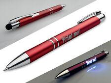 Kugelschreiber in 4 versch. Farben inkl. von innen beleuchteter Gravur   - LED-
