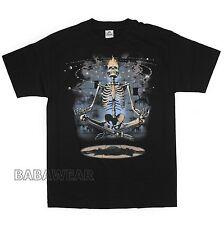 Meditation Skeleton T-Shirt Black Meditating Universe Levitation BABA