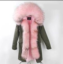 2017 Women's Fur Coat Jacket Parka Genuine Raccoon Fur Hood & Zipper Winter New