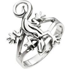 Damen Ring Gecko Echse Eidechse 925 Sterling Silber Silberring NEU