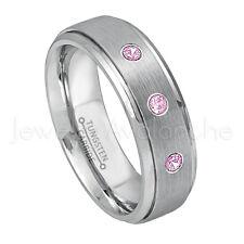 0.21ctw Pink Tourmaline Ring,October Birthstone Ring,Brushed Tungsten Ring #068