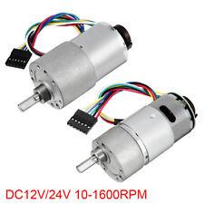 DC 12/24V 10-1600RPM Encoder Gear Motor 30:1 Reduction Ratio Gearmotor w Encoder