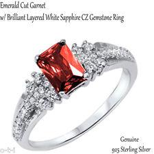 Fashion Wedding Engagement Emerald Cut Fiery Garnet Sterling Silver Ring