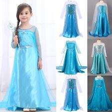 Girls Costume Princess Elsa Cosplay Kids Children Sequin Party Fancy Dress
