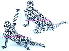 Black/White Lycra Zebra Stripe Suit Catsuit Costumes Unisex Full Body Suit F206