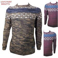 maglione uomo norvegese a fantasia girocollo maglia pesante bordeaux cammello