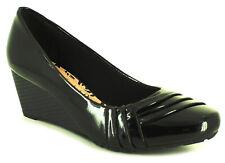 NUEVO mujer charol negro Comfort Plus zapatos con detalle de botón talla UK