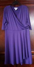 NEW Women's Purple faux wrap Slimming Petal Dress polyester knee length Paragon