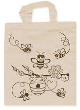 Niños Kids Bolsa Beige con lápices de Textil abejas para colorear 31722