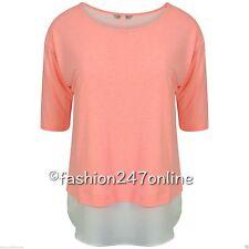Ladies Ex-M&S Collection Coral Mix Double Layer Split Back T-Shirt -Now £5.99