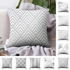 Silver Grey Geometric Cushion Cover Pillow Case Home Sofa Waist Throw Square HOT