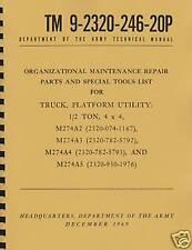 TM9 2320 246 20P ~ M274A2, A3, A4, A5 ~ Mule Parts List ~ Reprnt